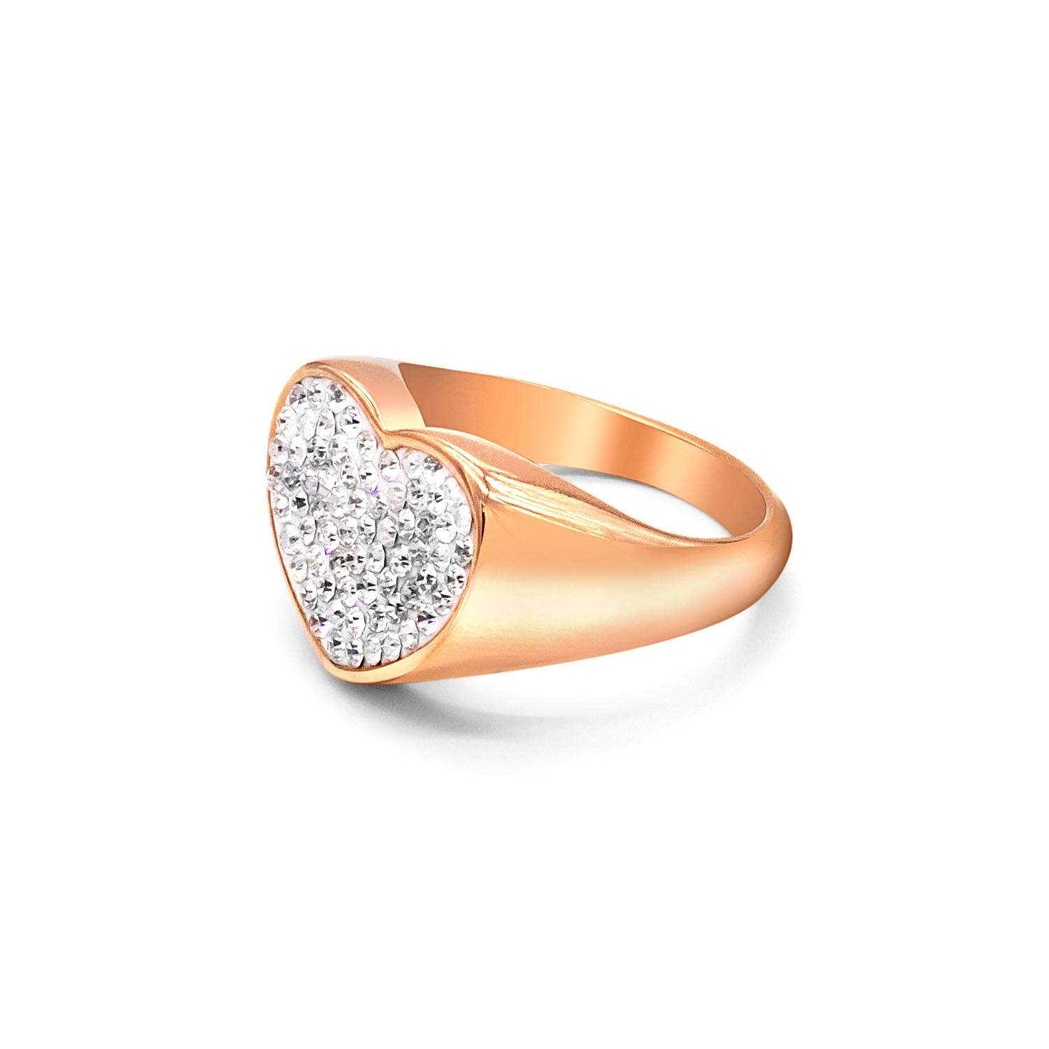 Pinky Ring Chevalier Sparkling Heart Shape Rose Gold
