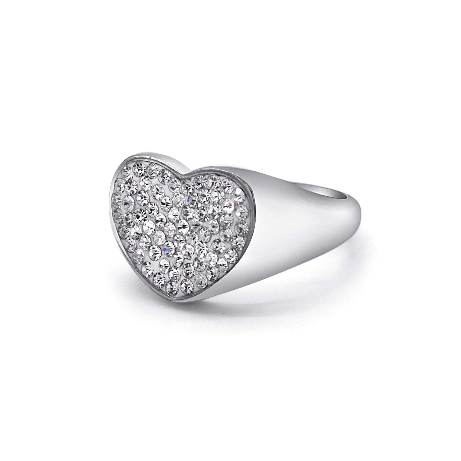 Pinky Ring Chevalier Sparkling Heart Shape Silver Colour