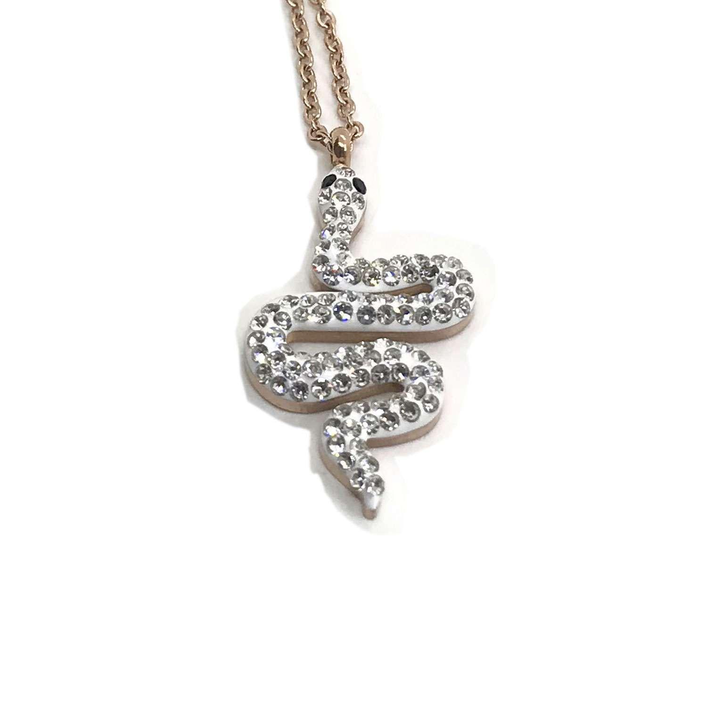 Necklace Tiny Snake Pendant Rose Gold