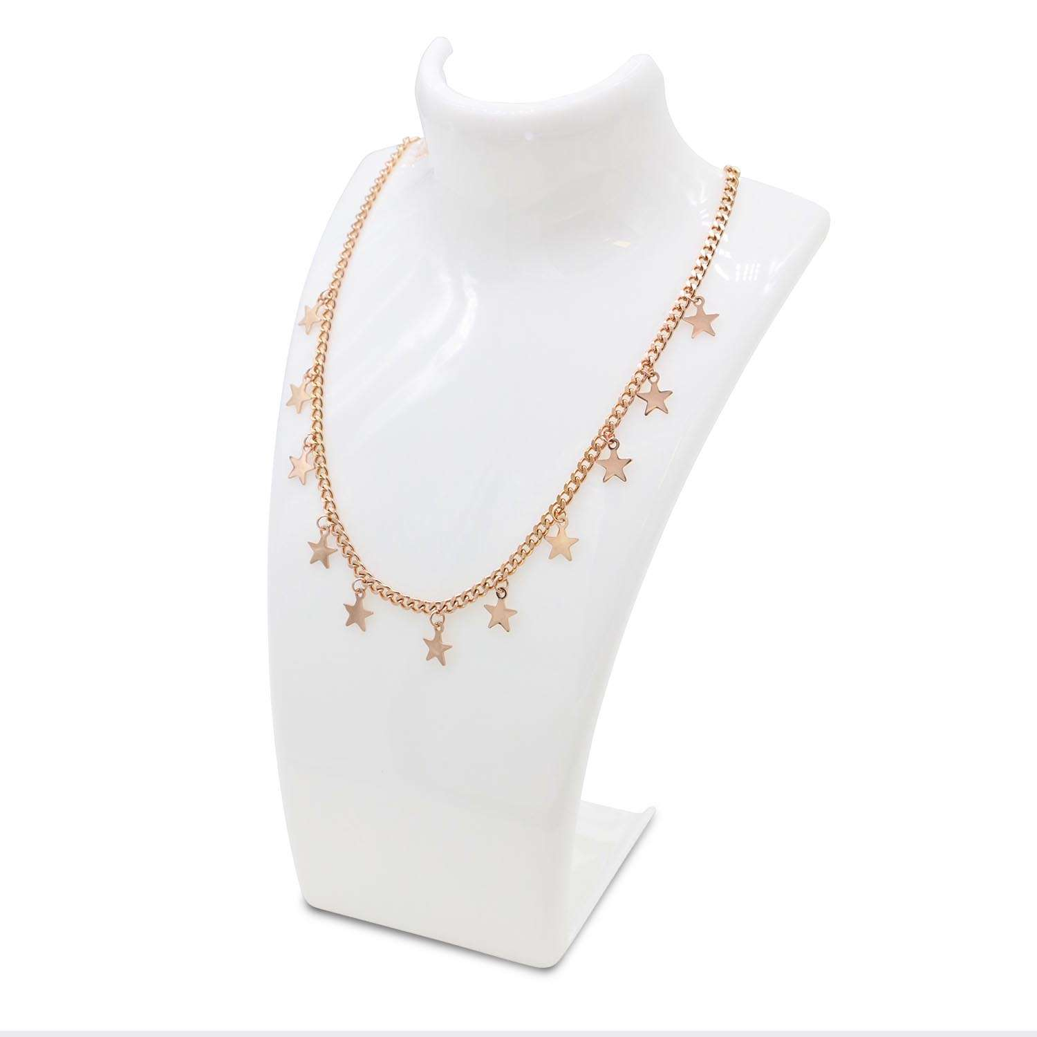 Necklace Star Pendant Choker Rose Gold Curb Chain