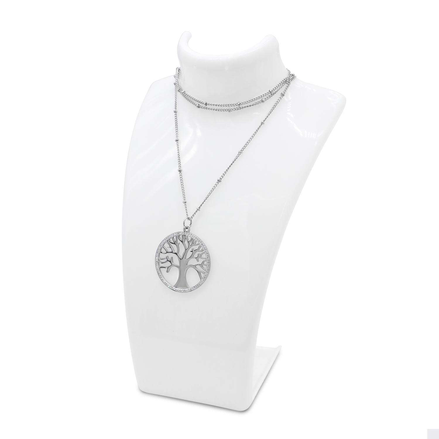 Tree Of Life Long Necklace with Round Shape Pendant