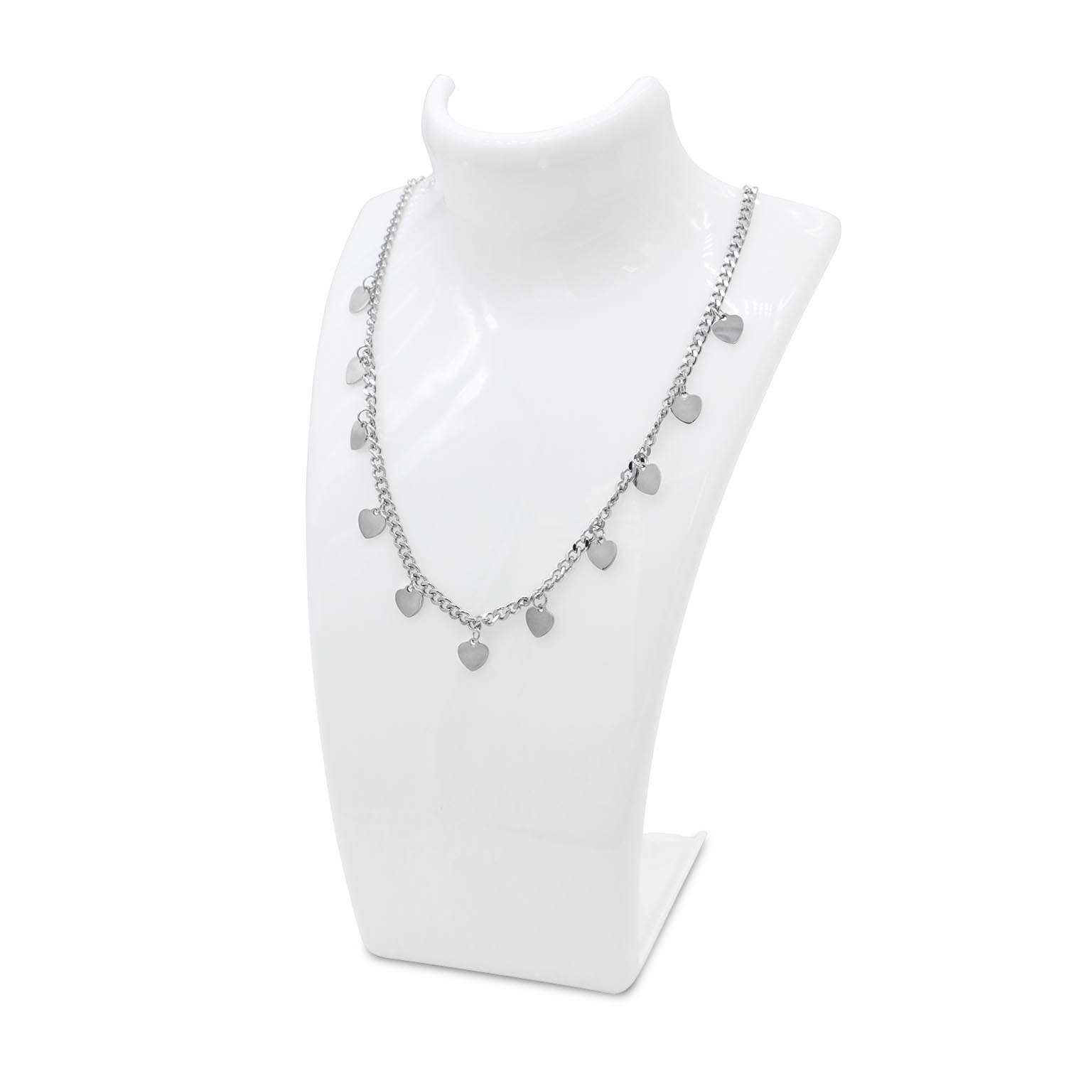Choker necklace Curb chain with heart shape pendant Silver