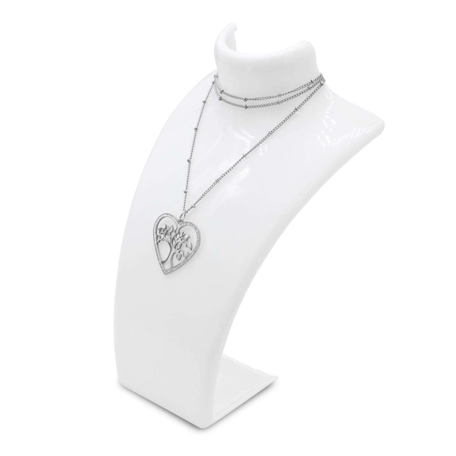 Tree Of Life Long Necklace Heart Shaped Pendant